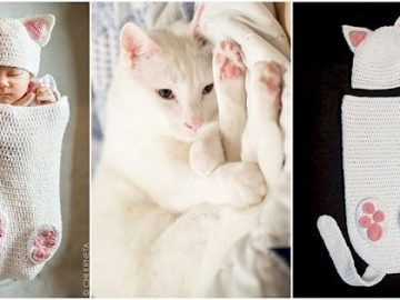 Crocheted Cat Cocoons For Your Newborn Human Are A Thing Now